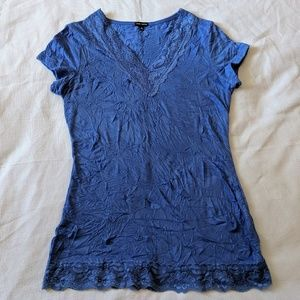 🐢 Maurice's Periwinkle Blue Fitted Crinkle Tee M